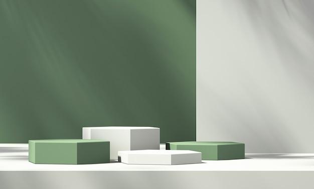 녹색 배경과 나무 그림자, 여름 제품 모형 배경, 3d 렌더링 그림이 있는 3d 녹색 제품 연단 디스플레이