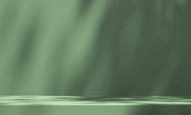 3d-дисплей подиума зеленого продукта с зеленым фоном и тенью дерева, фон макета летнего продукта, иллюстрация 3d-рендеринга