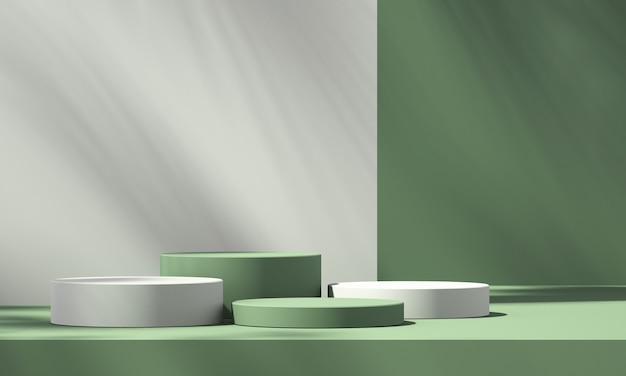 3d green product podium display with green background and tree shadow,summer product mockup background,3d render illustration