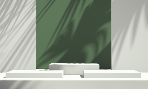 3d green product podium display with green and white background and tree shadow,summer product mockup background,3d render illustration