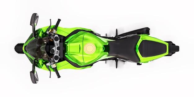 3d зеленый супер спортивный мотоцикл на белом фоне изолированных. 3d иллюстрации.