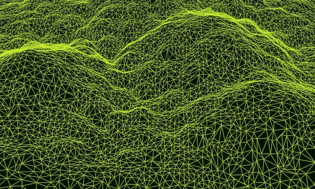 3d green topographic mountain grid wireframe.
