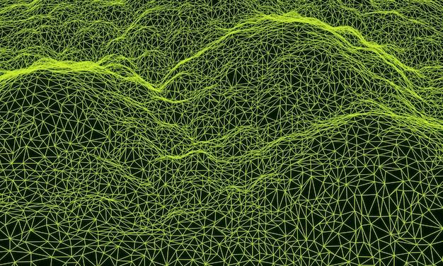 3d 녹색 지형 산 그리드 와이어 프레임.