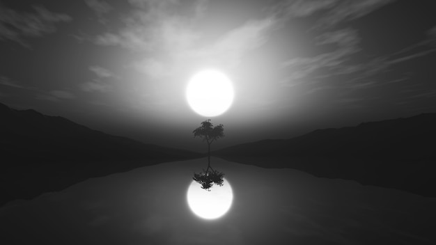 3d greyscale tree in misty landscape with reflection in water