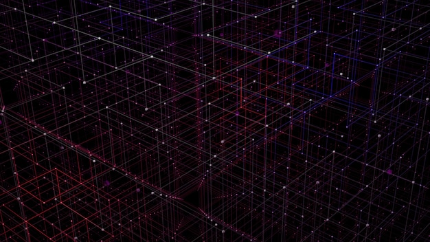 3d grid perspective concept for digital network data visualization.