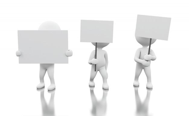抗議している白い人の3 dグループ。