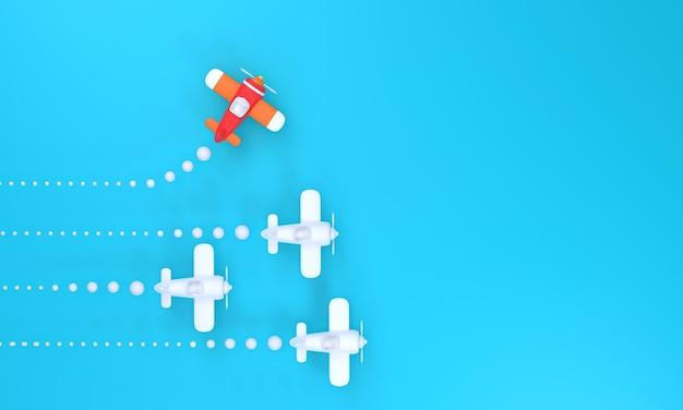 한 방향으로 흰색 평면의 3d 그룹과 파란색 배경에 다른 하나를 가리키는 빨간색 평면. 새로운 아이디어를 위한 비즈니스 창의, 혁신, 독립 및 문제 해결
