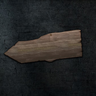 暗いコンクリートテクスチャ背景に3 dグランジスタイルの木製看板