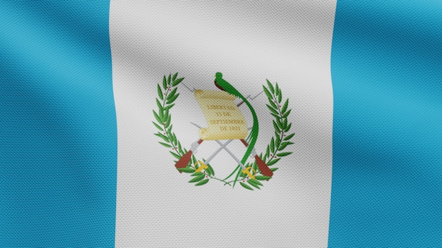 3d, guatemalan flag waving on wind. close up of guatemala banner blowing, soft and smooth silk. cloth fabric texture ensign background.