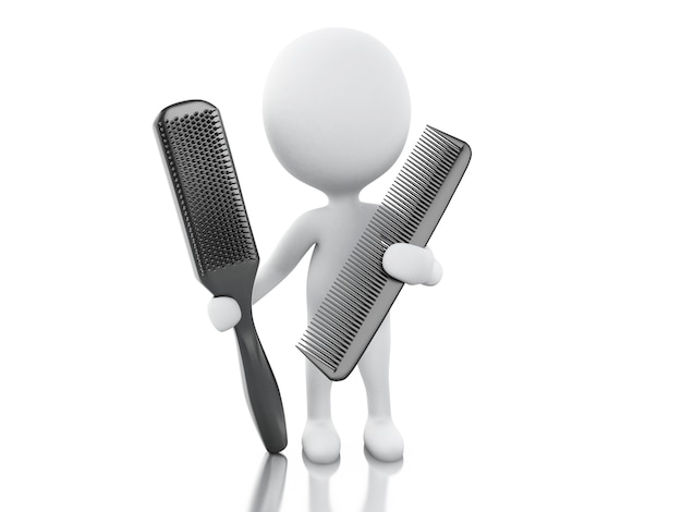 3d hairdresser with comb and hairbrush.