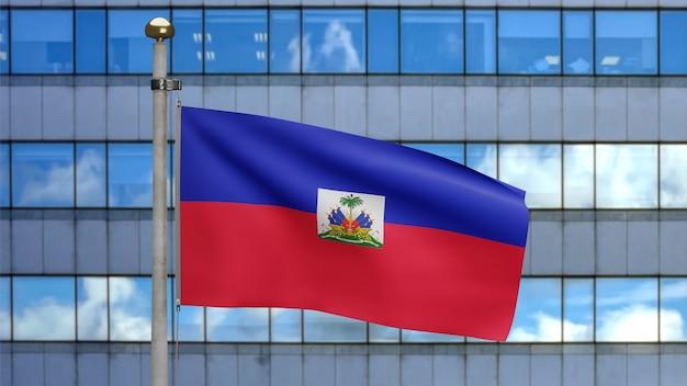 3d、現代の超高層ビルの街と風に揺れるハイチの国旗。ハイチのバナーを吹く、柔らかく滑らかなシルクのクローズアップ。布生地のテクスチャは、背景をエンサインします。