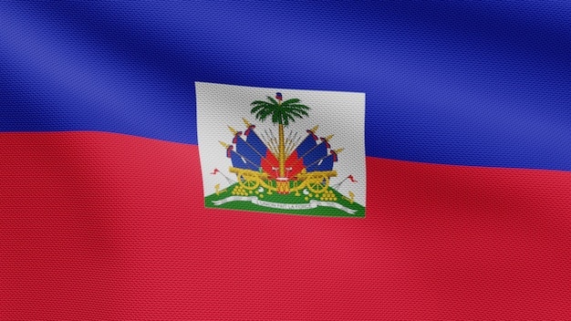 3d, haitian flag waving on wind. close up of haiti banner blowing, soft and smooth silk. cloth fabric texture ensign background.