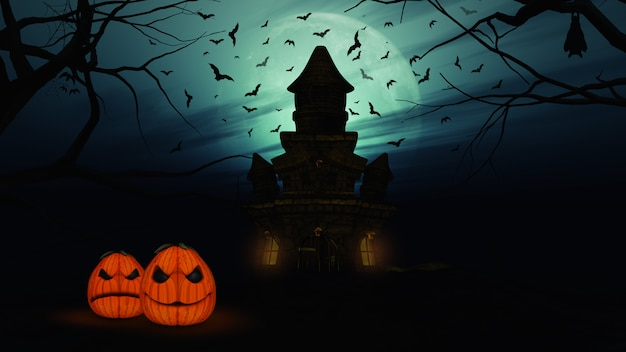 3d halloween background with spooky castle and pumpkins