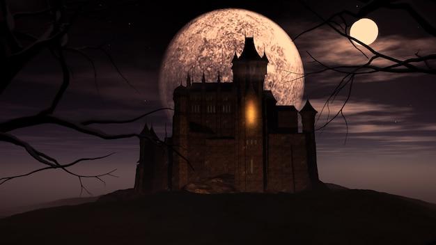 3d хэллоуин фон с жуткий замок