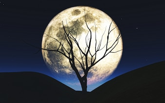 3D Halloween background with tree silhouetted against the moon