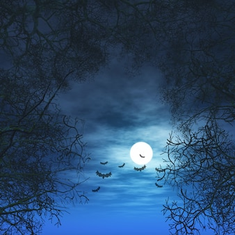 3d halloween background with trees against moonlit sky