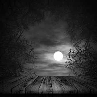 3d halloween background with wooden table on spooky landscape