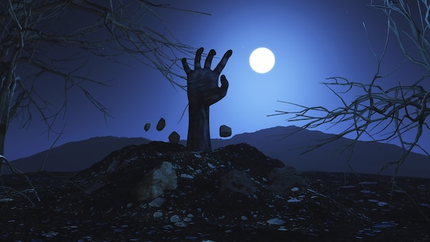 3d halloween background with zombie hand bursting out of the ground