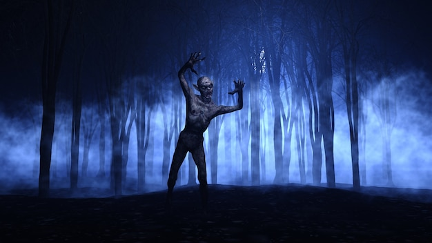 3d halloween background of a zombie emerging from a foggy forest