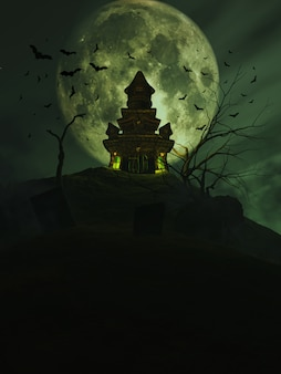 3d halloween castle with bats in the sky