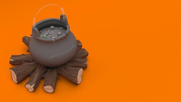 3d halloween cauldron