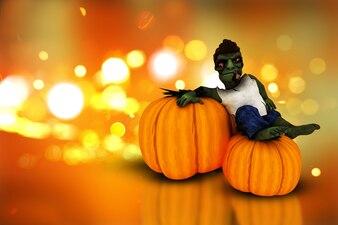 3D Halloween pumpkins  and zombie