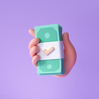 3d рука держит банкноту на фиолетовом фоне, экономия денег онлайн-платежей и концепции оплаты