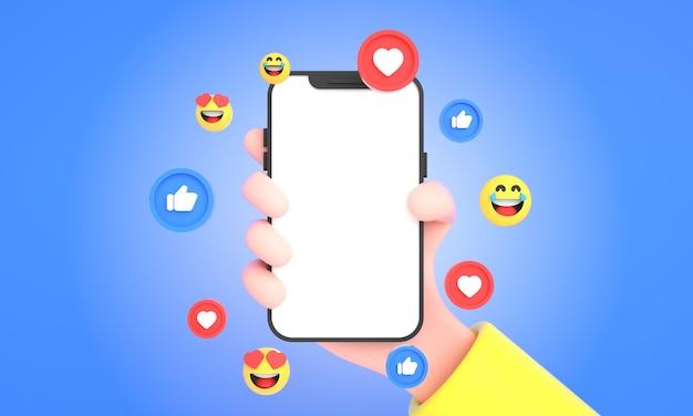 3d рука держит мобильный телефон с иконками социальных сетей и смайликами для макета телефона