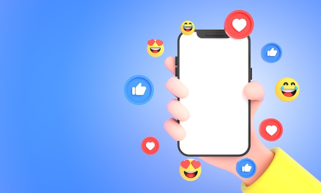 3d hand holding mobile phone with social media icons likes and emojis for phone mockup