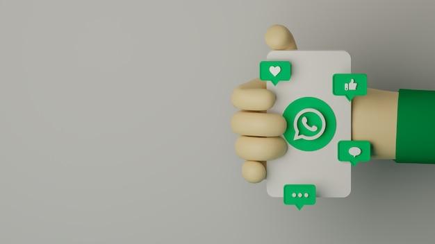 Whatsapp 로고가 있는 휴대 전화를 들고 있는 3d 손은 마케팅 개념에 대한 배경을 렌더링했습니다.