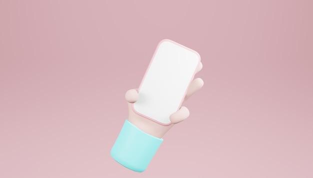 3d手持ち、スマートフォン最小限の背景、携帯電話のモックアップを使用した手。 3dレンダリング