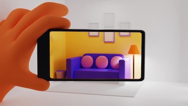 家具のインテリアをシミュレートするためのarアプリケーションを使用した3dハンドホールディングスマートフォン。