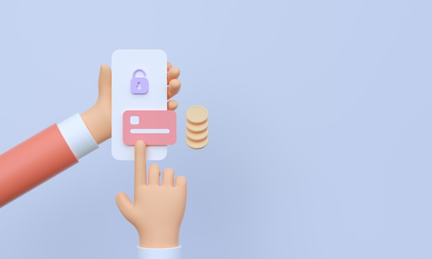 3d hand holding smartphone with online mobile banking and payment transaction