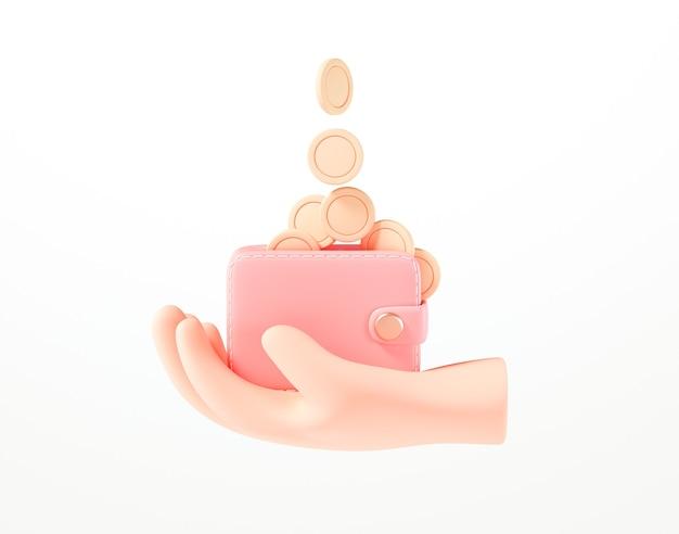 3d рука держит бумажник, стопку монет, банкноты и кредитную карту на изолированном белом