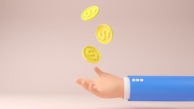 3d hand with coins elements