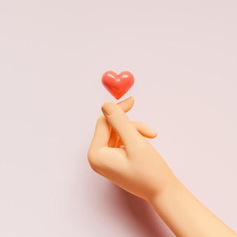 3d рука с корейским сердцем