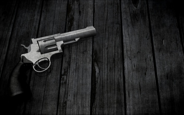3d handgun on a grunge wooden texture