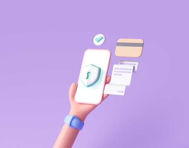 Финансовая безопасность 3d handhold phone, защита онлайн-платежей