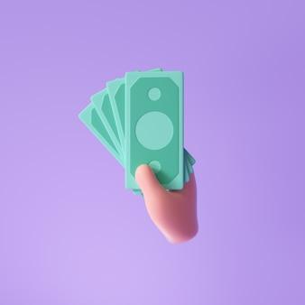 Банкноты 3d handholds для экономии денег, онлайн-платежей и концепции оплаты. 3d визуализация иллюстрации