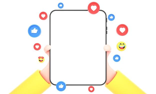 다목적 사용 및 태블릿 조롱을 위해 소셜 미디어 아이콘으로 격리된 태블릿을 들고 있는 3d 손