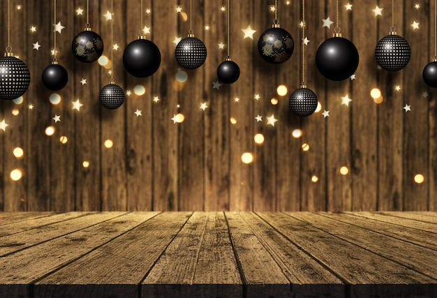 3d hanging christmas baubles over a wooden table and wood background