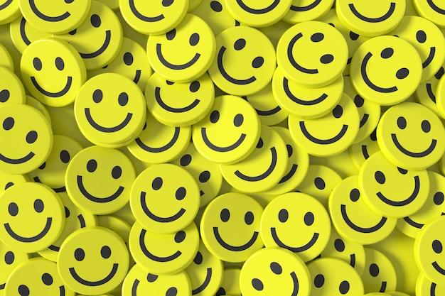 3d 행복 얼굴 이모티콘 배경 디자인.