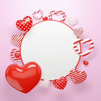 3d hearts background. happy valentines day circle frame with hearts shape elements and decorations
