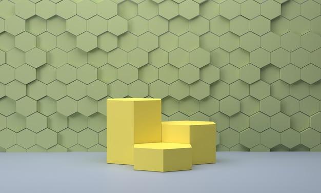 3d. шестиугольный подиум на фоне стены пастельных тонов в виде сот. для демонстрации продукта