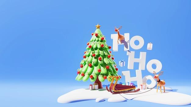 장식 크리스마스 트리, 순록, 썰매, 선물 상자 및 파란색 배경에 눈 덮인 3d ho ho ho 텍스트.