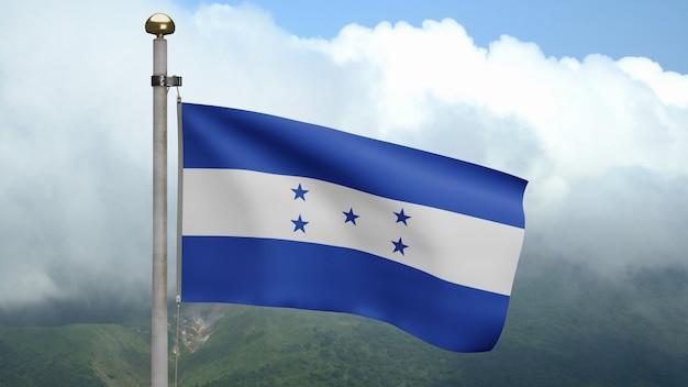 3d、ホンジュラスの国旗が山で風に揺れています。ホンジュラスのバナーが吹く、柔らかく滑らかなシルク。布生地のテクスチャは、背景をエンサインします。建国記念日や国の行事のコンセプトに使用してください。