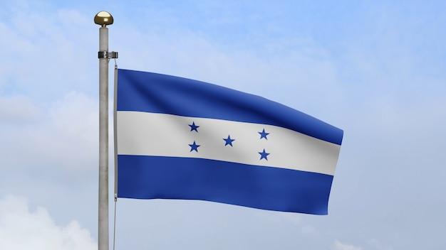 3d、青い空と雲と風に手を振るホンジュラスの旗。ホンジュラスのバナーが吹く、柔らかく滑らかなシルク。布生地のテクスチャは、背景をエンサインします。建国記念日や国の行事のコンセプトに使用してください。