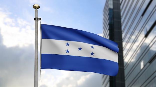 3d、現代の超高層ビルの街と風に揺れるホンジュラスの旗。滑らかなシルクを吹くホンジュラスのバナーのクローズアップ。布生地のテクスチャは、背景をエンサインします。建国記念日と国の行事の概念。