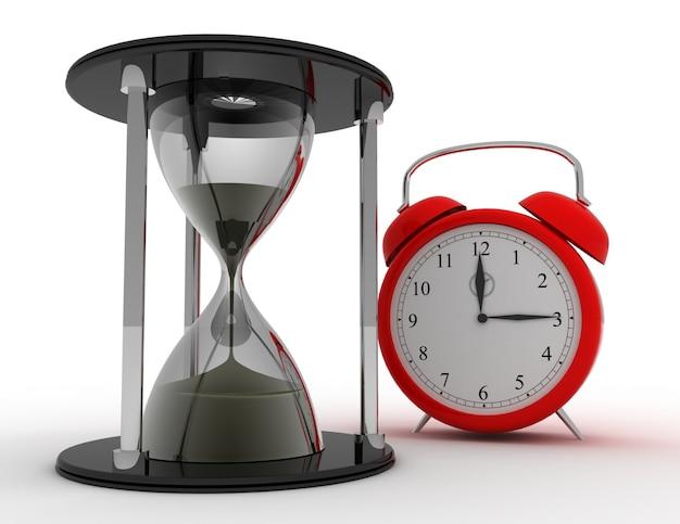 3d 모래 시계 및 알람 시계. 시간 개념