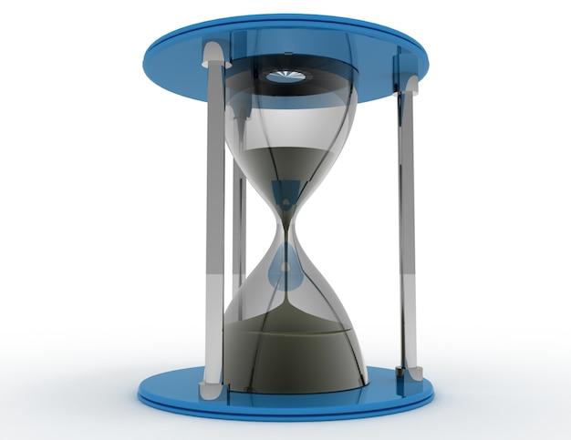 3d 모래 시계입니다. 흰색 배경에 시간 개념